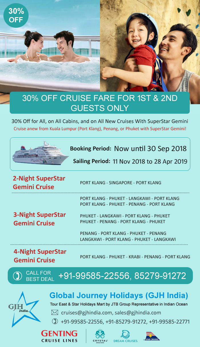 30% off Cruise Fare for 1st & 2nd Guests only - SuperStar Gemini